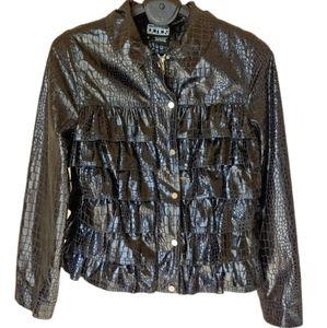 Berek front ruffles black soft jacket